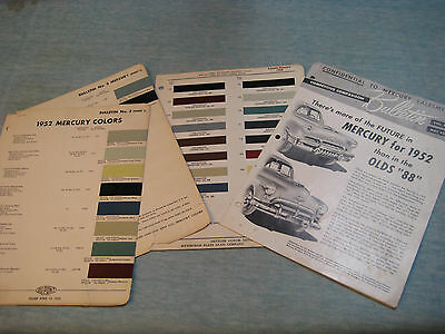 1952 Lincoln Mercury Salesman Bulletin & Ditzler and DuPoint Color Samples Group