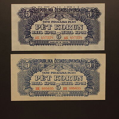 Czechoslovakia 5 Korun 1944 P#46 Banknote Specimen & Issued Notes Uncirculated