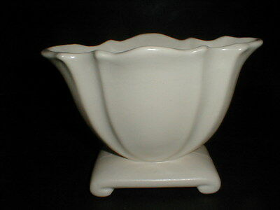 Brush McCoy Pottery White Scalloped Oval Footed Planter Vase
