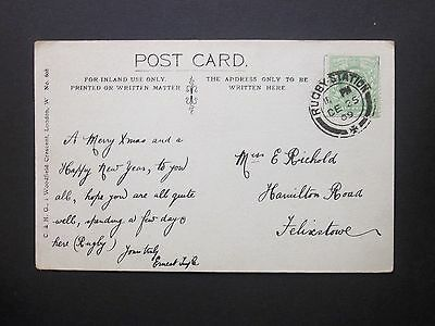 GB Railway 1909 KEVII 1/2d Christmas Day Postcard RUGBY STATION (+) d/c