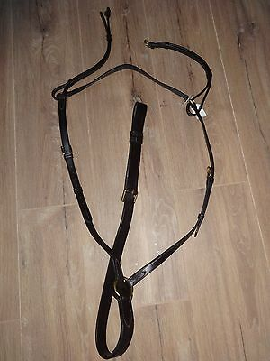 Top Quality English Leather 3 Point Breastplate Full Size Havana