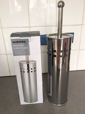 Sabichi Polished Stainless Steel Toilet Brush Holder & Brush New In Box