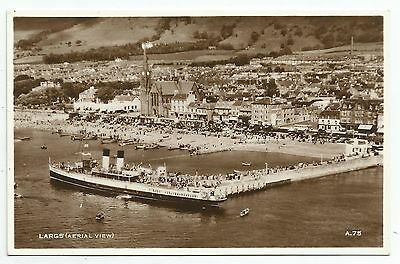 POSTCARD-SCOTLAND-LARGS-RP. Aerial View of Steamer at The Pier.