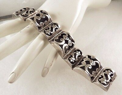 Los Ballesteros Sterling Bracelet Mexican Siilver Signed
