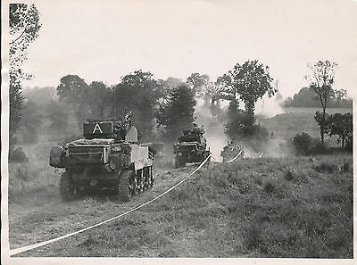 WWII Aug 11 1944, British troops & Sherman Tanks Caumont, France 6x8 photo