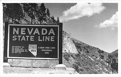 c1950 Nevada State Line Highway Sign Real Photo Postcard/RPPC