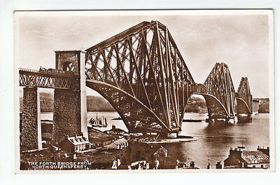 The Forth Bridge From North Queensferry Fife Real Photograph Albert Hotel