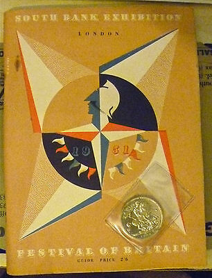 South Bank Exhibition Festival Of Britain 1951 Guide & 5 Five Shilling Crown Uc