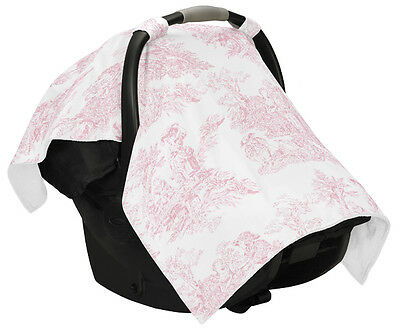 Sweet Jojo French Pink White Toile Baby Infant Car Seat Carrier Stroller Cover