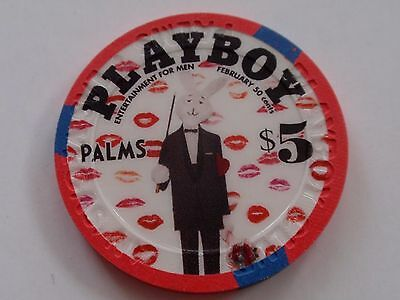 PALMS Casino PLAYBOY $5 CHIP Las Vegas / BUNNY in TUXEDO Lips / Great Condition