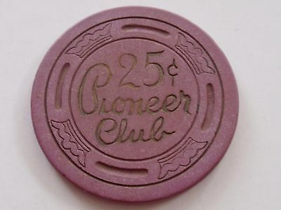 PIONEER CLUB Chip Casino LAS VEGAS 25 cents / Fractional/ 2nd Issue/ LCROWN Mold