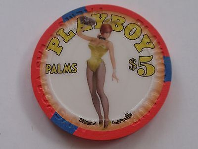 PALMS Casino PLAYBOY $5 CHIP Las Vegas / BUNNY in Yellow / Great Condition