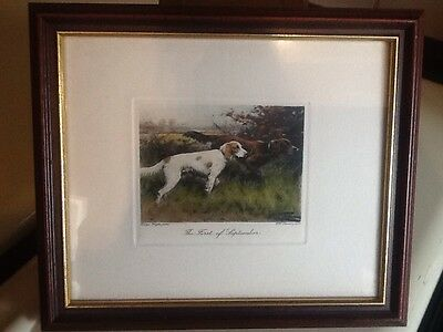 """The First of September"" two Dogs Copper Engraving George Wright FRAMED"