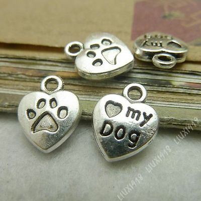 10pc 2-Sided Charms Heart MY DOG Pendant Beads Findings Tibetan Silver S519T