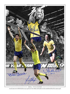• HAND SIGNED 16x12 MONTAGE PHOTO ARSENAL 1979 FA CUP WINNERS
