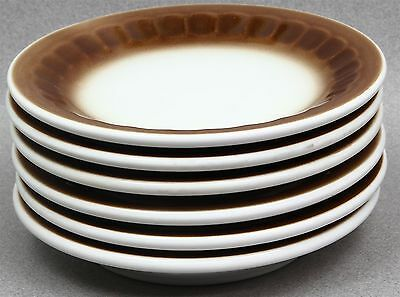 Set of 6 Mayer China 1979 Restaurant Ware Bread & Butter Plates White Brown Rim