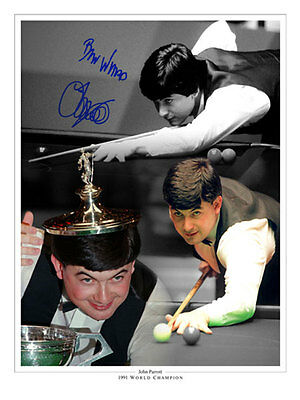 • HAND SIGNED 16x12 MONTAGE PHOTO SNOOKER JOHN PARROTT