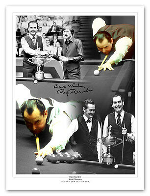 • HAND SIGNED 16x12 MONTAGE PHOTO SNOOKER RAY REARDON