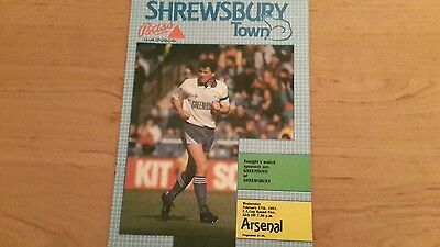Shrewsbury Town v Arsenal FA Cup  Programme 27th February 1991