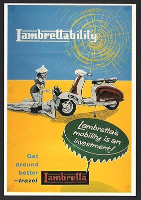 Lambretta Motor Scooter Advertising Reproduction Postcard Excellent Condition