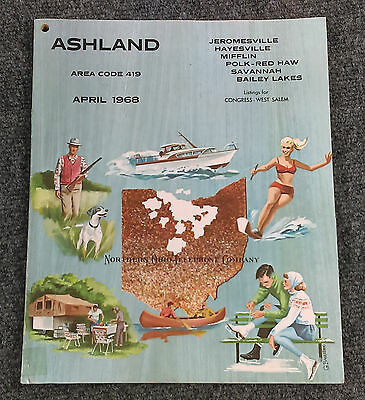 Vtg April 1968 ASHLAND Ohio Telephone Directory Book Northern Phone Yellow Pages