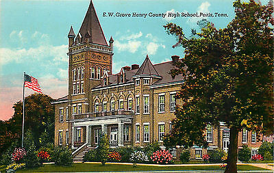 E.w. Grove Henry County High School, Paris, Tennessee, Vintage Postcard