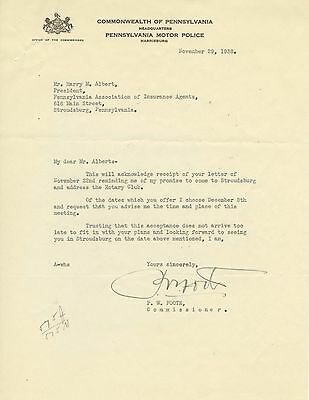 1938 Pennsylvania Motor Police letterhead signed by P W Foote, Commissioner