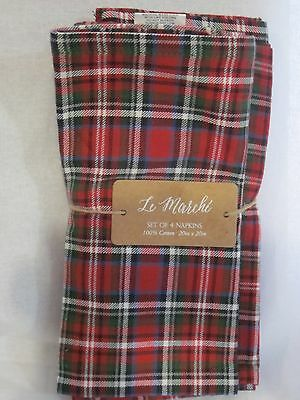 Le Marche Holiday Christmas Plaid Tartan Red White Green Napkins Set Of 4  New
