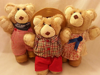 Vintage Set of 3 Wendy's Furskins Collectible Plush Teddy Bear Dolls