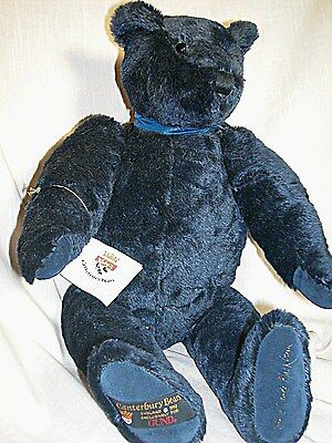 """Large Gund Canterbury Bear Dark Blue Mohair England """"Montaque"""" signed 20"""" Mint"""