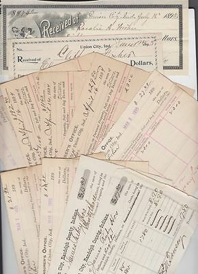 oldhal-Union City, In/Lot of 12 Documents from the 1880s-90s