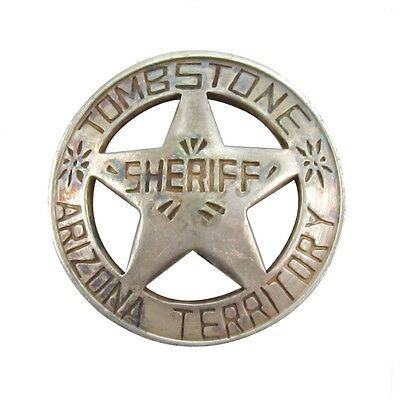 Antique Old West Obsolete 1900's Tombstone Law Badge Police Officer Round Star