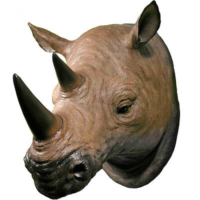 3D Life Size Wall Mounted African Rhino Head Rhinoceros Mount Kids Room Decor