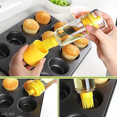 Utility Dustproof Honey Oil Wine Sauce Bottle with Brush Baking BBQ Kitchen Tool