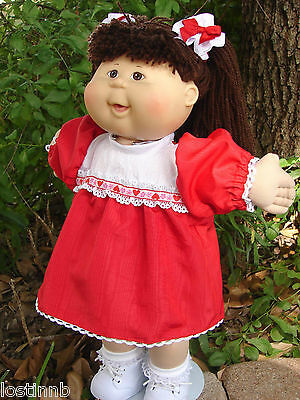 """New 16-17"""" VALENTINE Red, HEARTS SATIN DRESS Bows Doll CLOTHES Cabbage Patch Kid"""