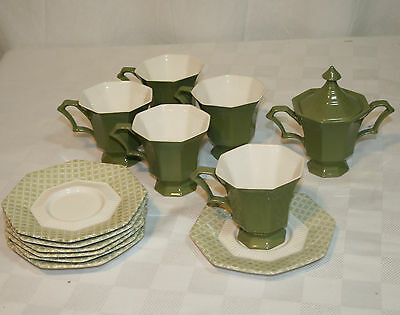 CASTLETON Japan Independence IRONSTONE cups SAUCERS & Sugar bowl