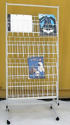 1X New Mobile 4 Tiers Book Magazine Display Rack