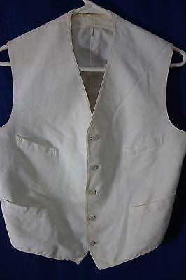 "Victorian Men's Vest- White Cotton-Chest 38""- Mother-of-Pearl Stud Buttons-SAUVE"