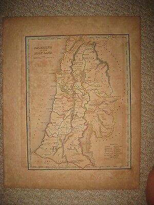 Antique 1835 Palestine Holy Land Israel Bradford Handcolored Map Jewish Judaism