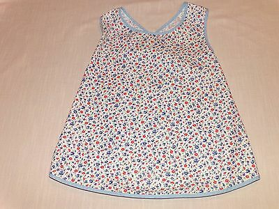 Vtg Little Girls Smock Apron With Criss Cross Back ~ Blue & Red Print