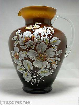"""Vintage Ardult Italy  Italian Art Glass Large 10"""" Floral Brown Cased Pitcher"""