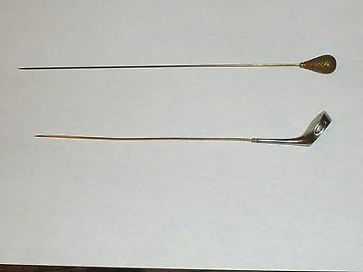 2 Antique Ladies Hat Pins-1 Sterling Silver Golf Club W Repousee Scene, 1 Brass