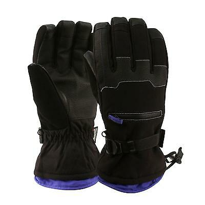 Men's Winter Waterproof Thinsulate 3M Ski Zip Pocket Touch screen Gloves Black L