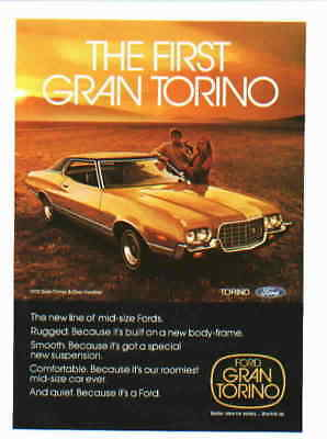 1972 Ford Torino ***original Vintage Ad*** The First
