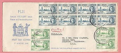1946 Fdc Fiji Multi Franked Air Mail Peace Issue #137-38