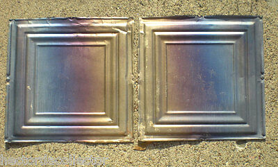 2 Iridescent Antique Carnival Ceiling Tin Tiles Simple Elegant Frame Canvas Chic