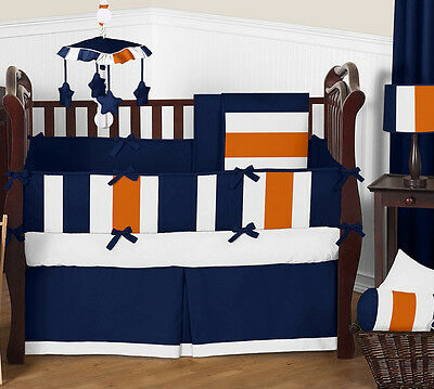 White Navy Blue and Orange Stripes Baby Boy Room Crib Bedding Comforter Set Jojo