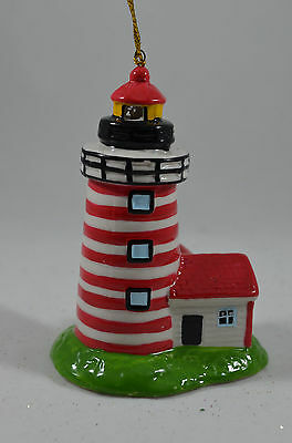 Red, White and Black LED Light Up Light House Christmas Tree Ornament new