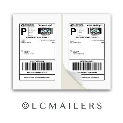 100 Shipping Labels 8.5x5.5 Square Corner Self Adhesive 2 Per Sheet PACKZON®