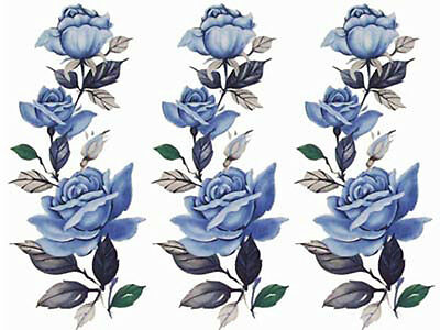 XL DaZzLinG BLuE CaBBaGe RoSeS ShaBby WaTerSLiDe DeCALs ~FurNiTuRe SiZe~